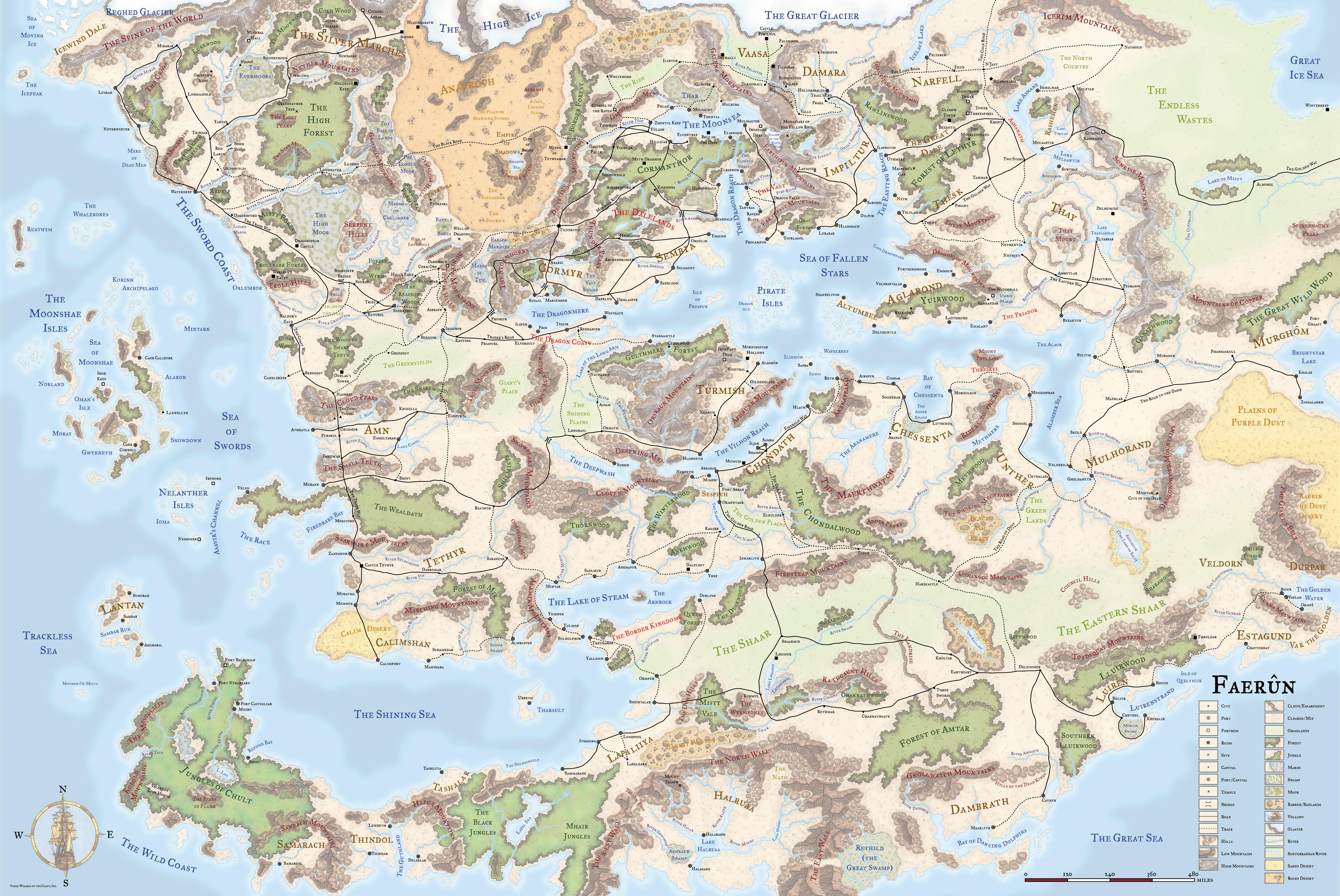 [D&D3.5] sup - Carte du continent de Faerûn